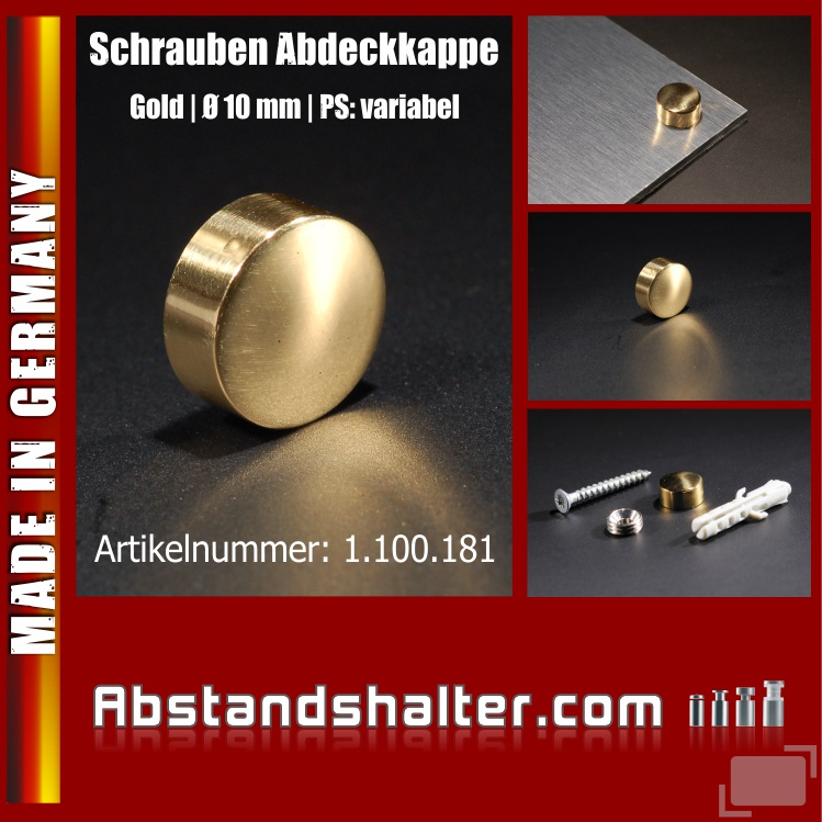 Schrauben Abdeckkappen Messing pol. zap inkl Gewindehülse Ø10mm   Gold