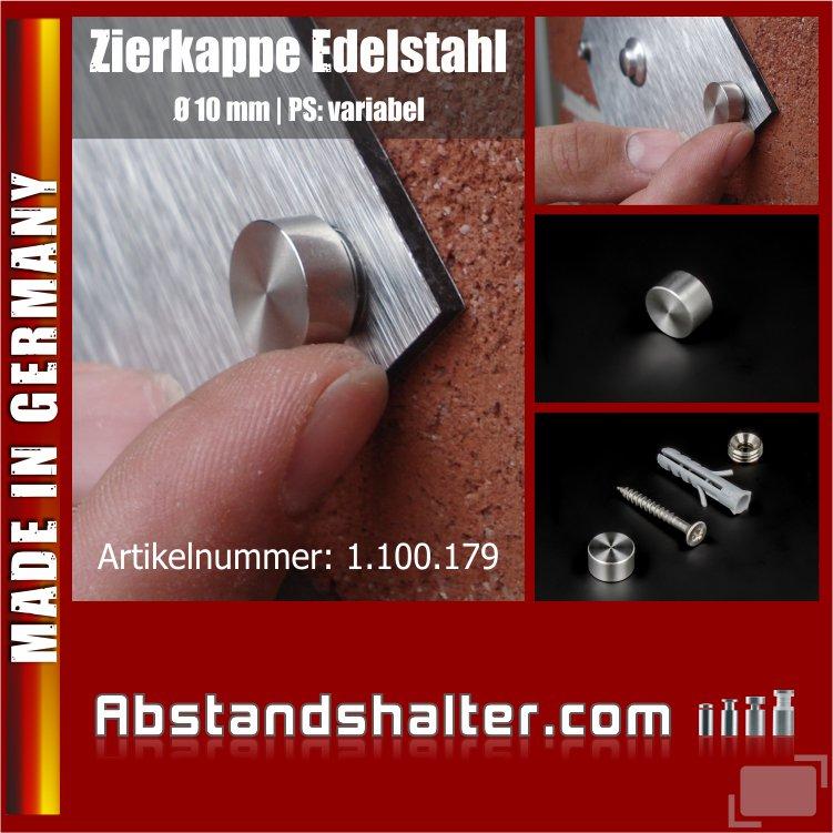 Zierkappen Edelstahl V2A Ø 10 mm | Abdeckkappen | Schraubenkappen