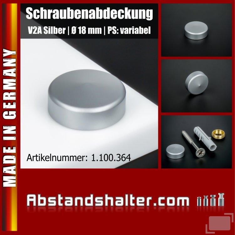 Schraubenabdeckung V2A inkl. Gewindehülse angeschrägt Ø 18 mm | Silber