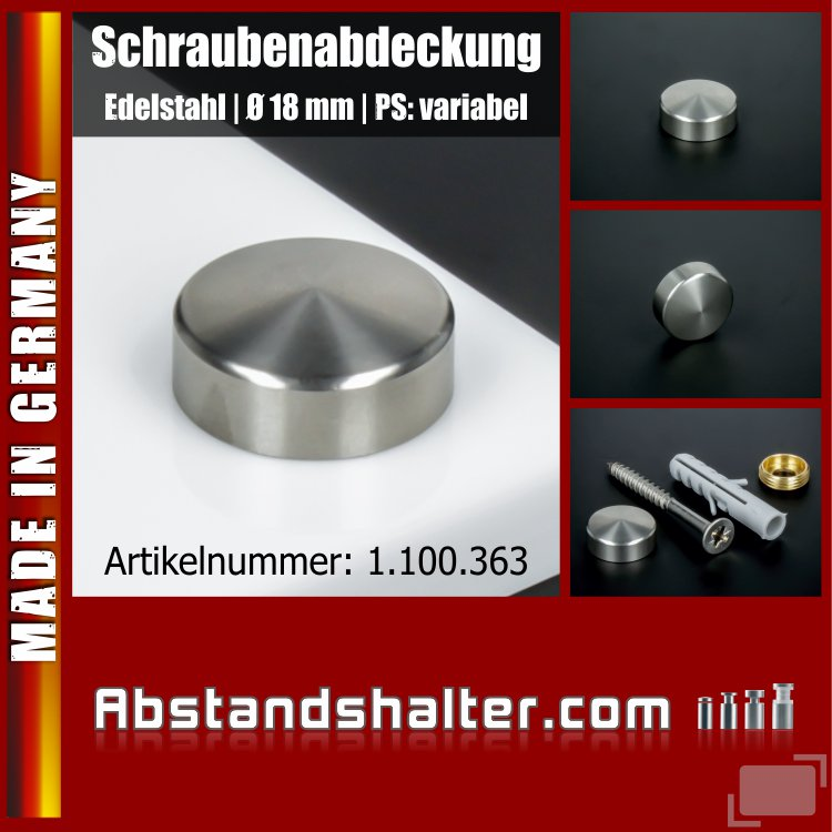 Schraubenabdeckung Edelstahl inkl Gewindehülse angeschrägt Ø18mm | V2A
