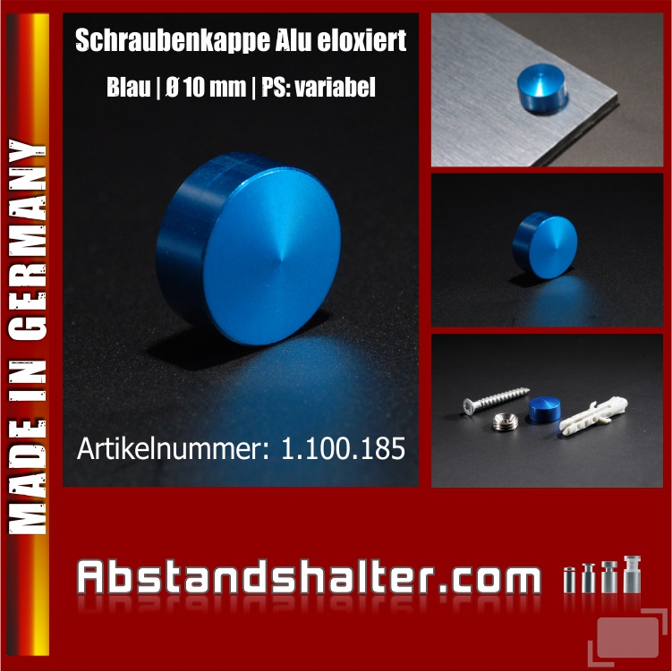 Schraubenkappe Alu eloxiert inkl. Gewindehülse Ø 10 mm | Blau