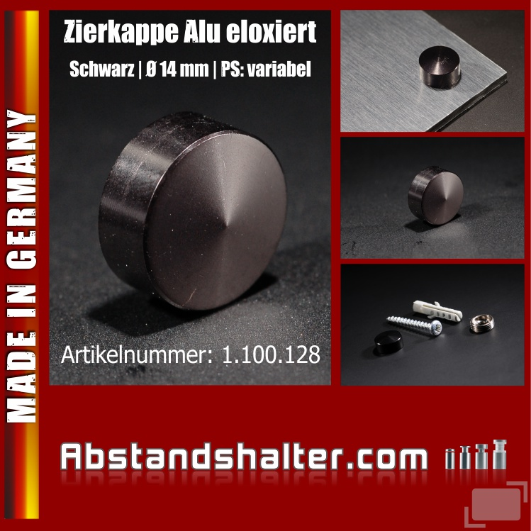 Schraubenkappe Alu elox. inkl Gewindehülse angeschrägt Ø14mm | Schwarz