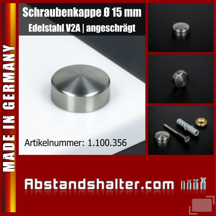 Schraubenkappe Edelstahl inkl. Gewindehülse angeschrägt Ø 15 mm | V2A