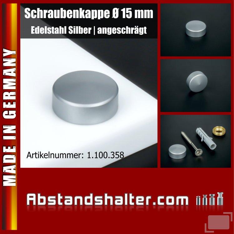 Schraubenkappen aus Edelstahl silber Ø 15 mm als Abdeckkappen für Schrauben angeschrägt
