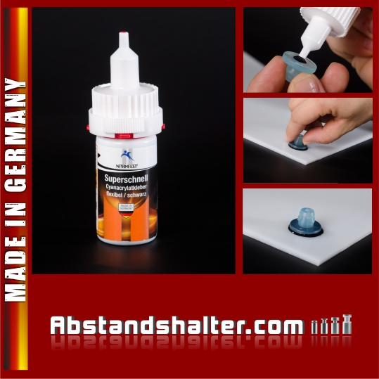 Sekundenkleber Kunststoff Metall 20 ml | Schwarz | Cyanacrylat-Kleber