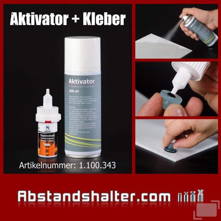 Set Aktivator 200 ml + Cyanacrylat-Kleber Schwarz 20ml