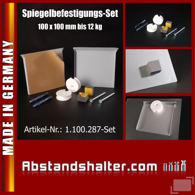 Spiegelbefestigung-Set Wandspiegelhalter bis 0,8 qm o. 12 kg | 100 x100 mm