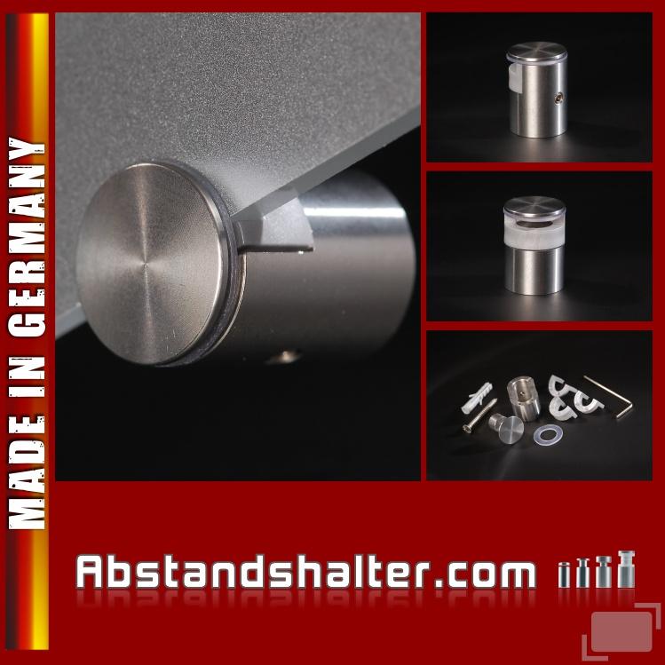 Spiegelhalter Edelstahl V2A Ø: 20 mm WA: 15 mm PS: 4, 6, 8 mm | Halter