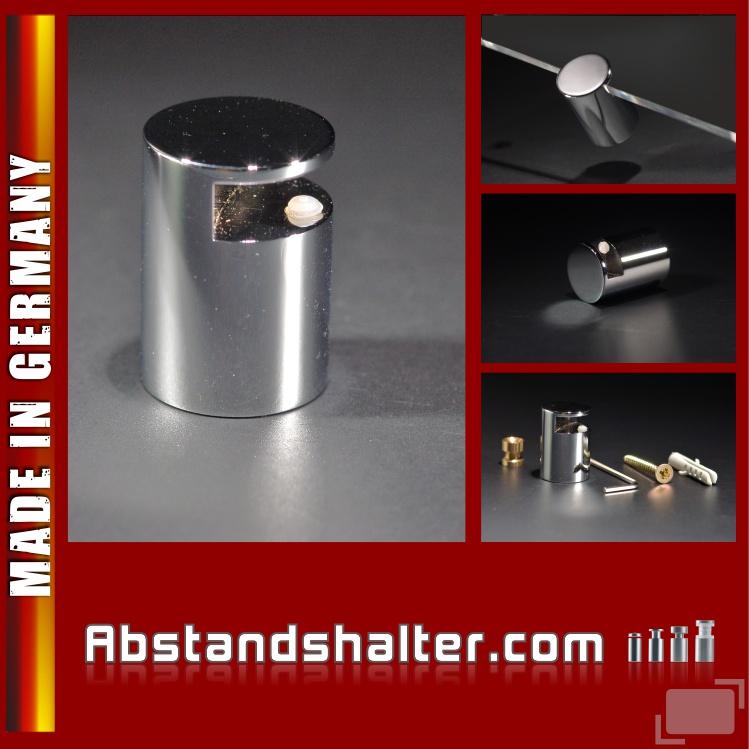 Wand-Spiegelhalter Messing pol. chrom Ø: 20 mm Länge: 28 mm WA: 20 mm