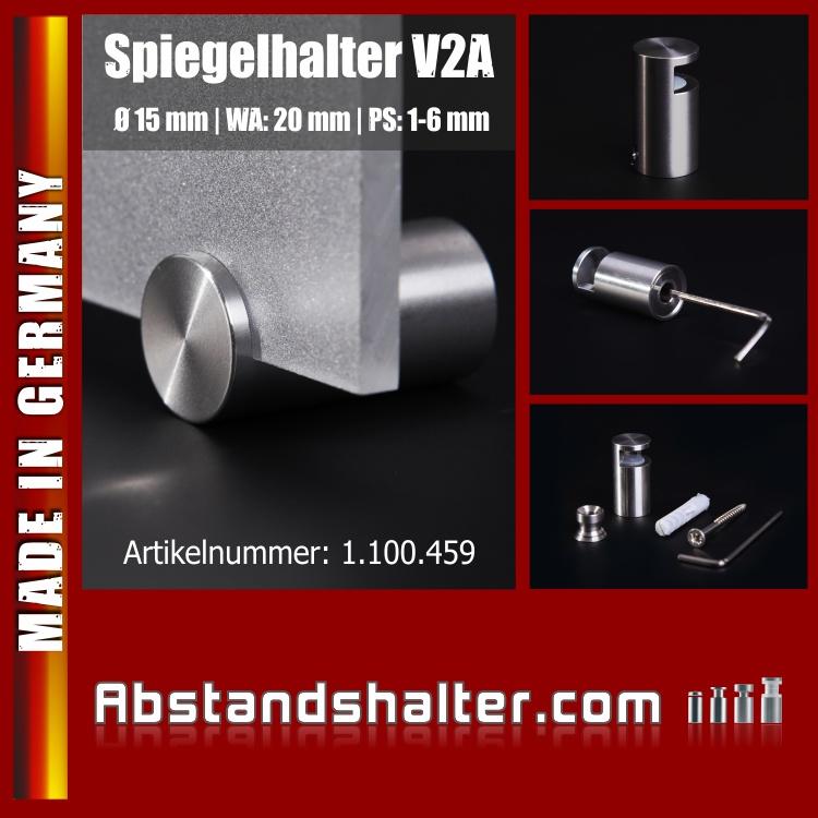 Spiegelhalter Edelstahl V2A Ø: 15 mm Länge: 28 mm WA: 20 mm