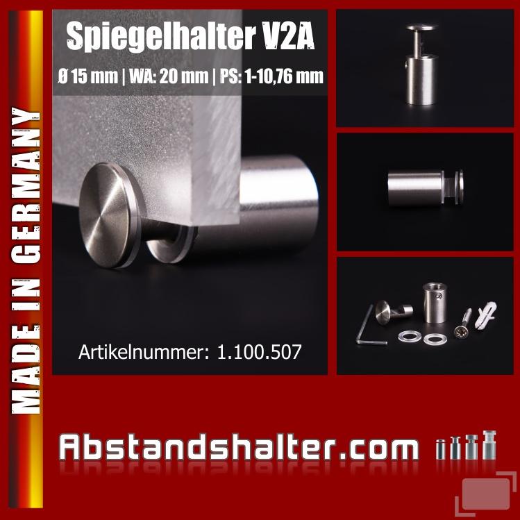 Spiegelhalter Edelstahl V2A Ø: 15 mm WA: 20 mm PS: 1-10,76 mm | Glasklemme
