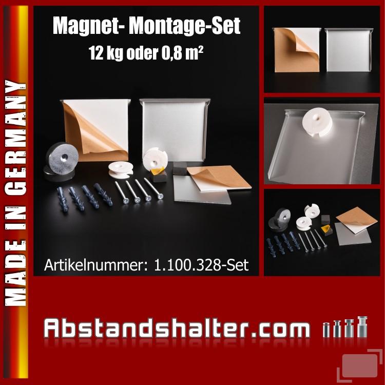 Magnet Spiegel-Montage-Set bis 0,8 qm o. 12 kg | 100 x 100 mm | Bilder
