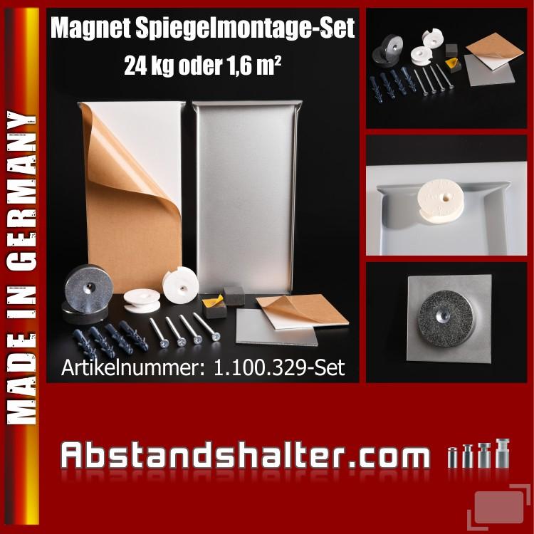 Magnet Spiegelmontage-Set bis 1,6 qm o. 24 kg | 200 x 100 mm | Spiegel