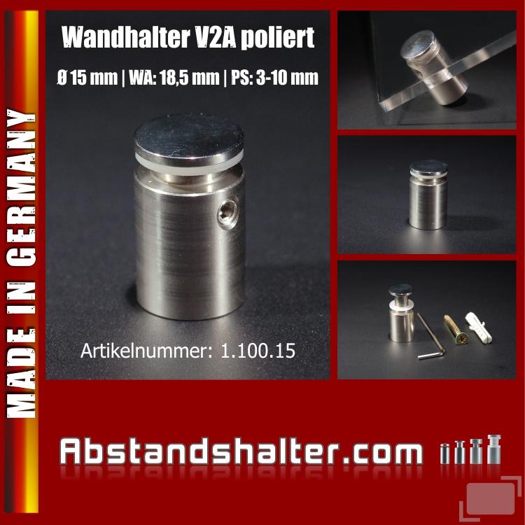 Wandhalter V2A poliert für Schilder Ø 15 mm WA 18,5 mm PS 3-10 mm