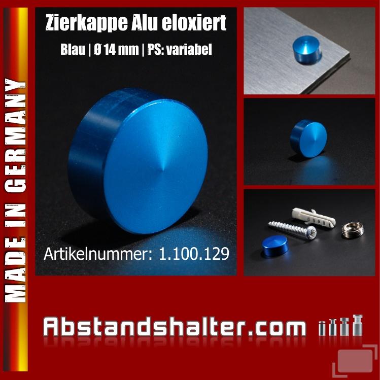 Zierkappe Alu eloxiert inkl. Gewindehülse angeschrägt Ø 14 mm | Blau