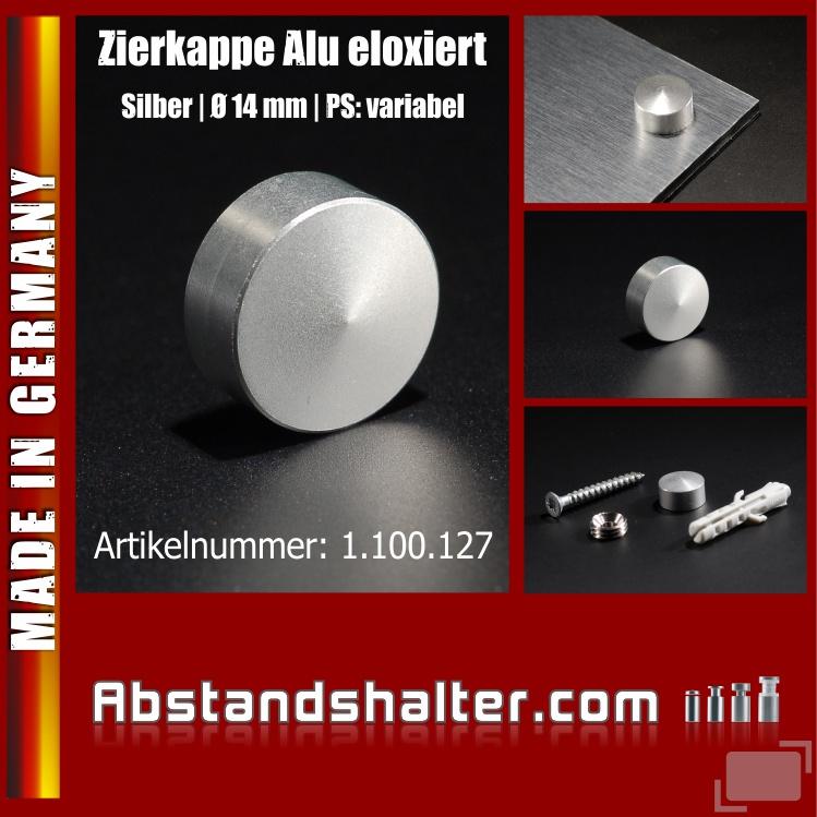 Zierkappe Alu eloxiert inkl. Gewindehülse angeschrägt Ø 14 mm | Silber