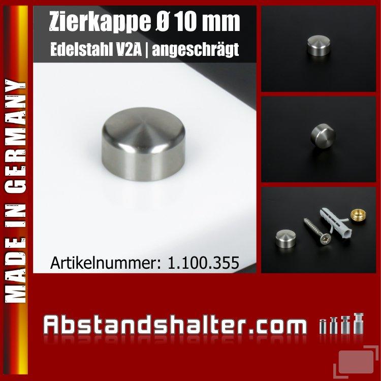 Zierkappe Edelstahl inkl. Gewindehülse angeschrägt Ø 10 mm | V2A
