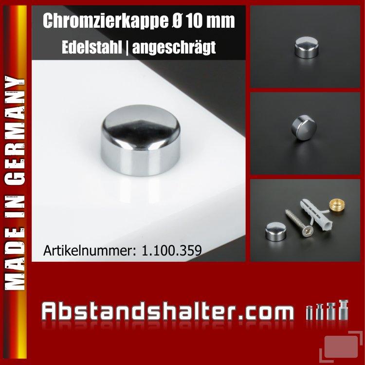 Chromzierkappe Edelstahl Gewindehülse angeschrägt Ø 10 mm | verchromt