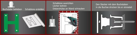 Montage: Buchstaben-Befestigung PVC 2 teilig | Montagehülse | Schilder | mittel