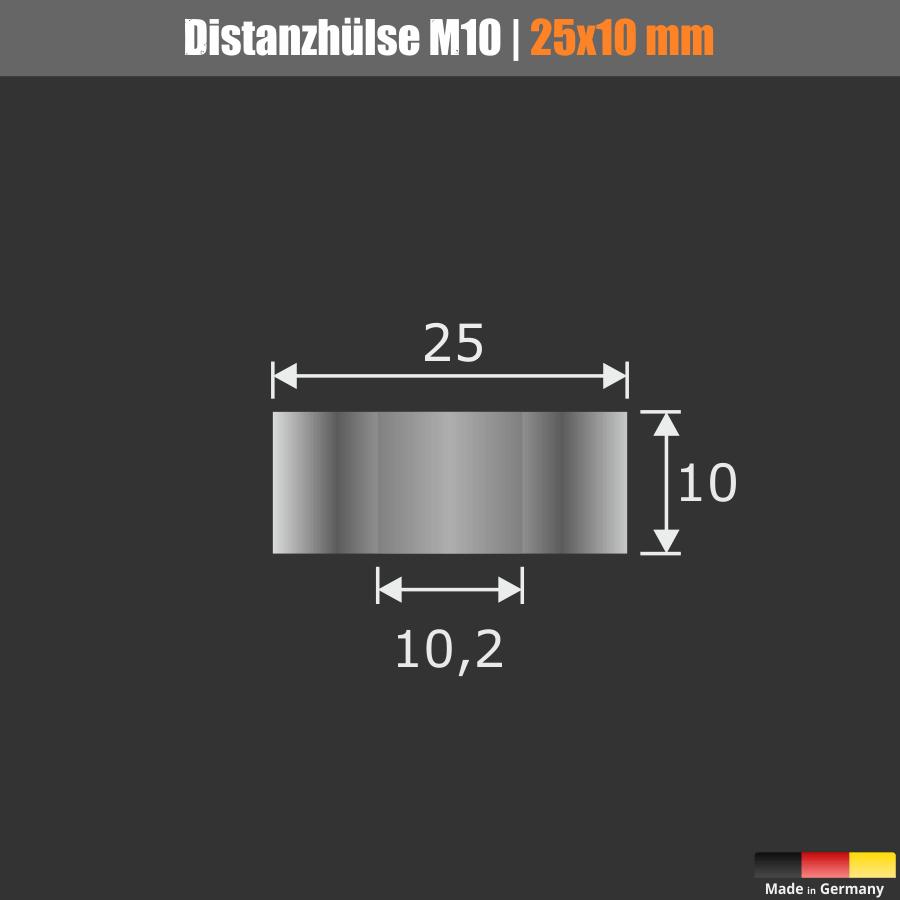 Distanzhülse M8 | M10 Distanzrohr Edelstahl Ø25mm WA:10mm L-Ø:10,2mm