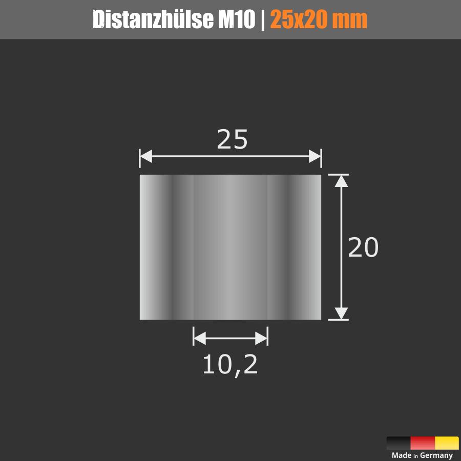 Distanzrohr M8 | M10 Abstandhalter Edelstahl Ø25mm WA:20mm L-Ø:10,2mm