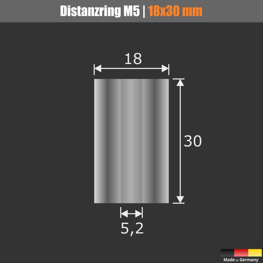 Distanzring M5 | Abstandshülse Edelstahl Ø18mm WA:30mm L-Ø:5,2mm | V2A