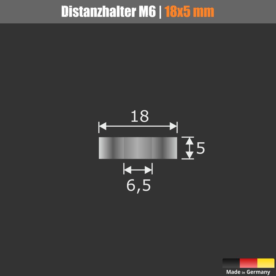 Distanzröhrchen M6 Messing verchromt Ø18mm WA:5mm L-Ø:6,5mm | Chrom