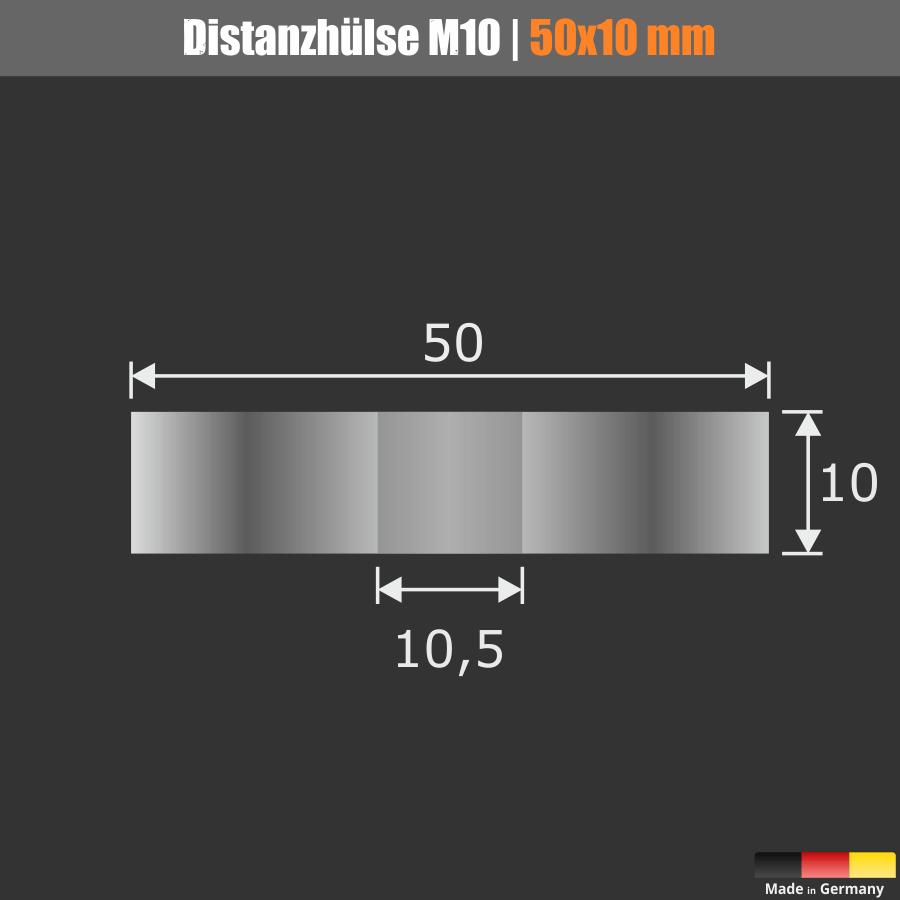 Distanzscheibe | Distanzhülse Edelstahl Ø50mm WA:10mm L-Ø:10,5mm V2A