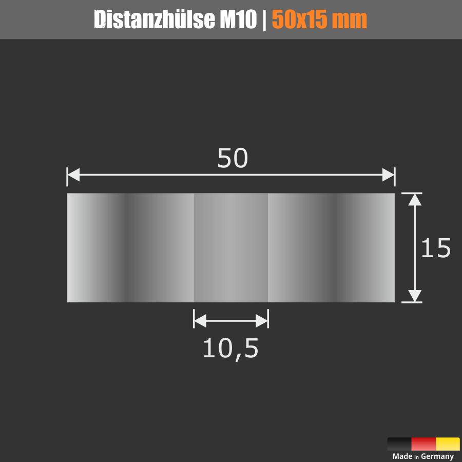 Der Loch-Ø beträgt 10,5 mm und kann dadurch für M8 oder M10 Schrauben und Gewindestangen verwendet werden.