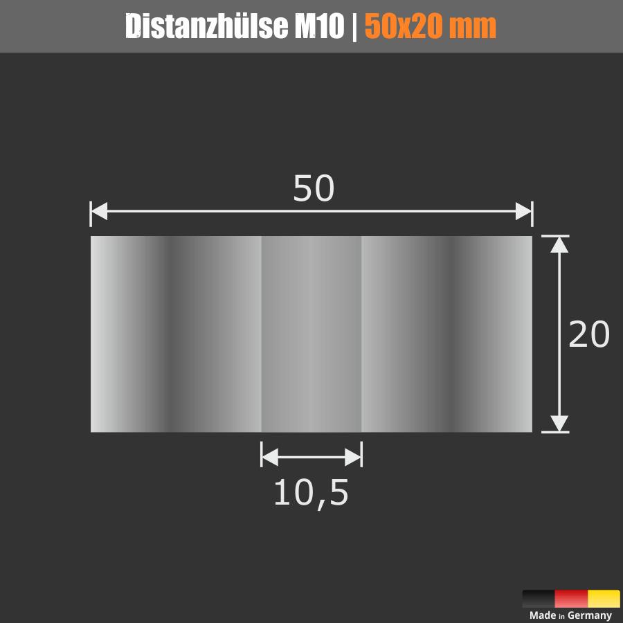 Distanzscheibe M10 Distanzrohr Edelstahl Ø50mm WA:20mm L-Ø:10,5mm V2A