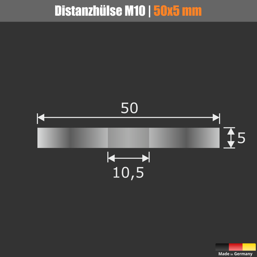 Distanzscheibe M10 Distanzhalter Edelstahl Ronde Ø50mm WA:5mm Loch-Ø:10,5mm