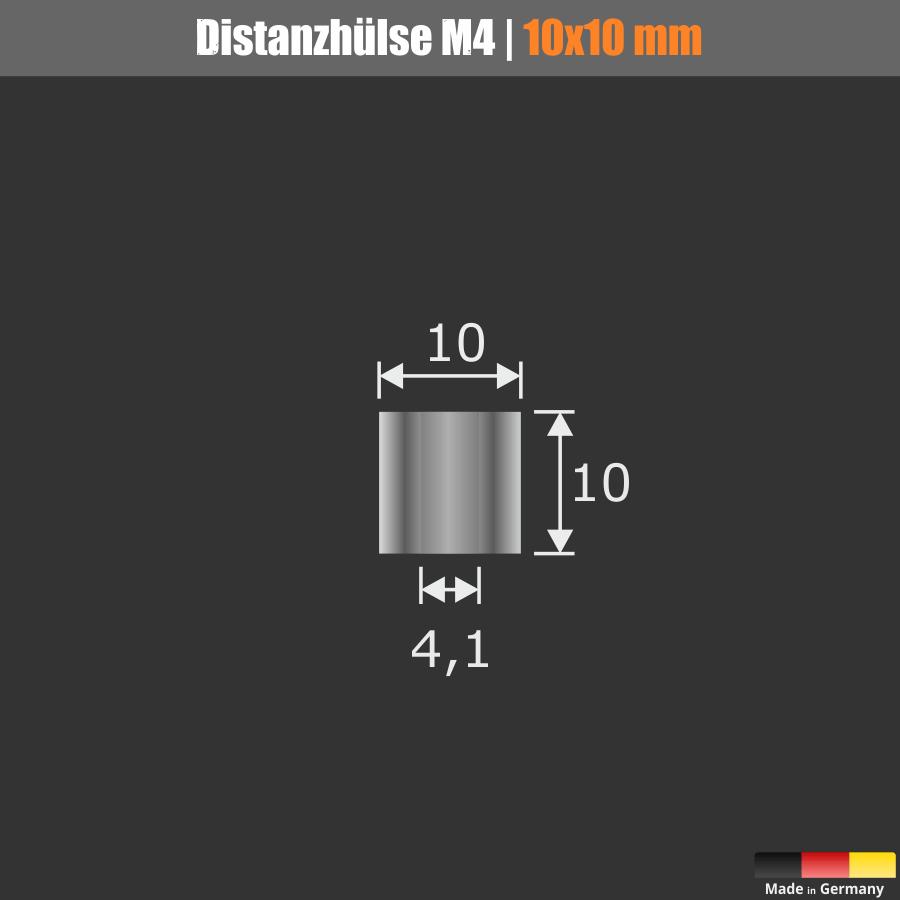 M4 Distanzhülse Distanzhalter Edelstahl Ø10mm WA:10mm L-Ø:4,1mm | V2A