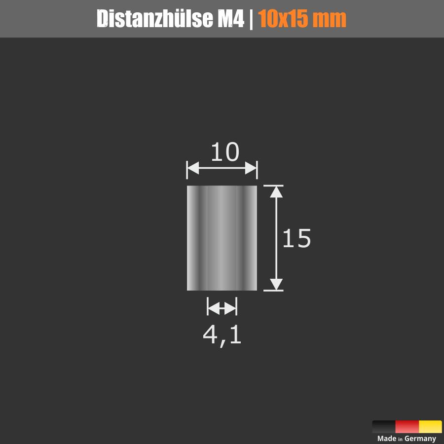 M4 Distanzhülse Abstandshülse Edelstahl Ø10mm WA: 15mm L-Ø:4,1mm | V2A