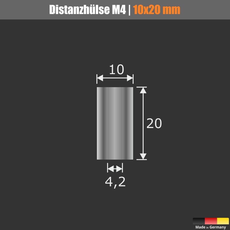 Distanz-Halter M4 Messing glänzend Ø10mm WA:20mm L-Ø:4,2 mm | Chrom