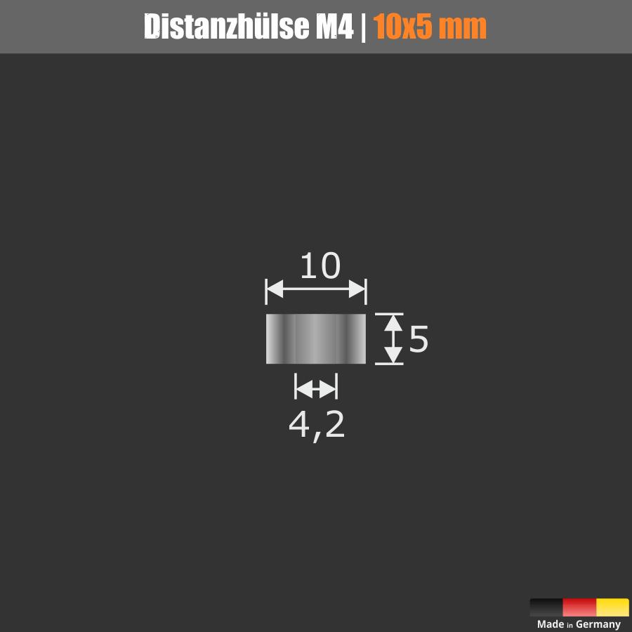Distanzhülse M4 Messing glanz verchro. Ø10mm WA:5mm L-Ø:4,2mm Chrom