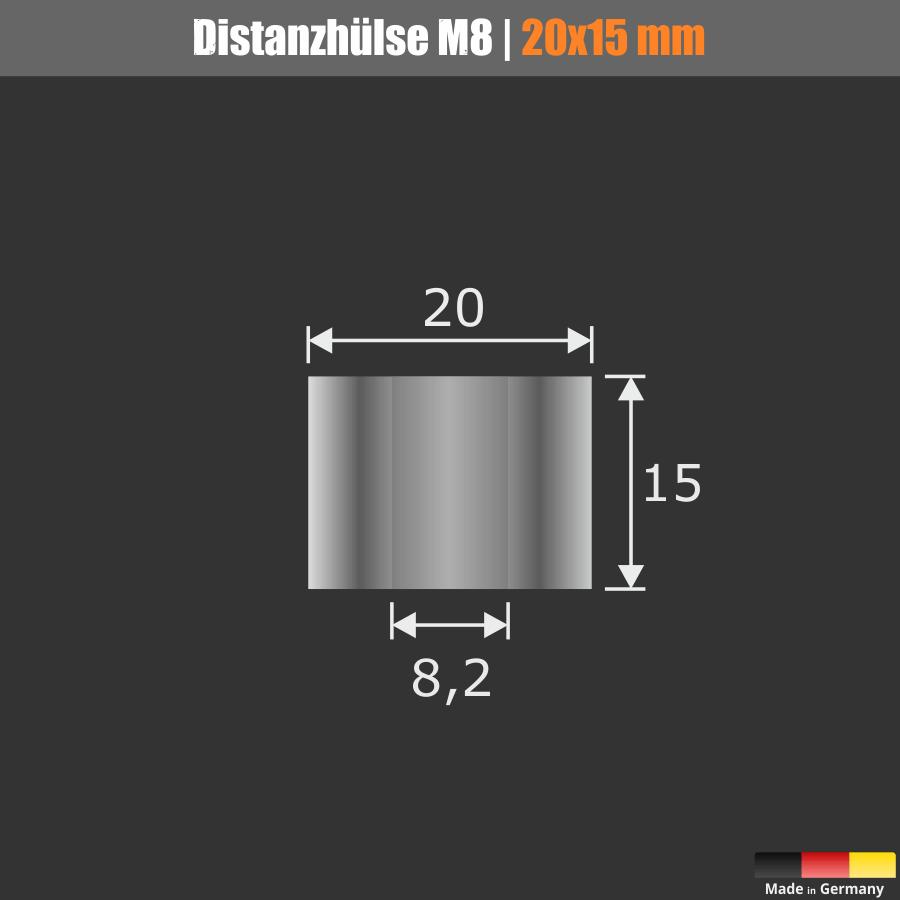 Distanzhülse M8 Ø 20mm WA: 15mm L-Ø: 8,2mm Distanzhalter Edelstahl V2A