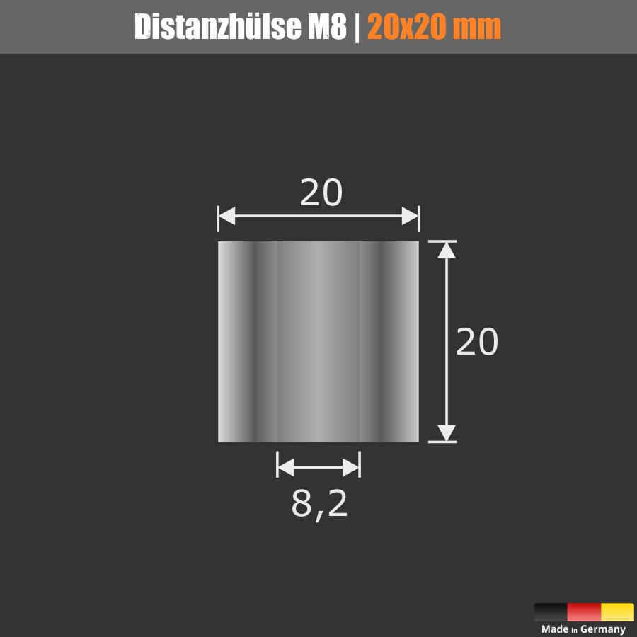 Distanzhülse M8 Ø 20mm WA: 20mm L-Ø: 8,2mm Distanzhalter Edelstahl V2A