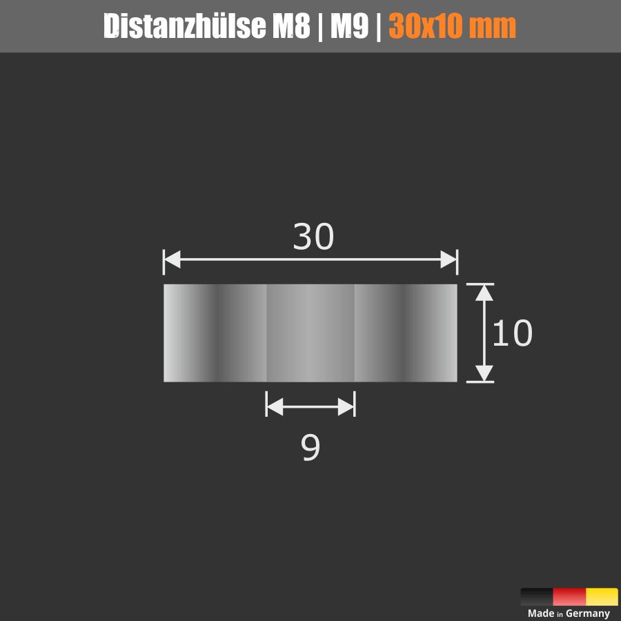 Distanzscheibe M8   M9   Distanzstück Edelstahl Ø30mm WA:10mm L-Ø:9mm