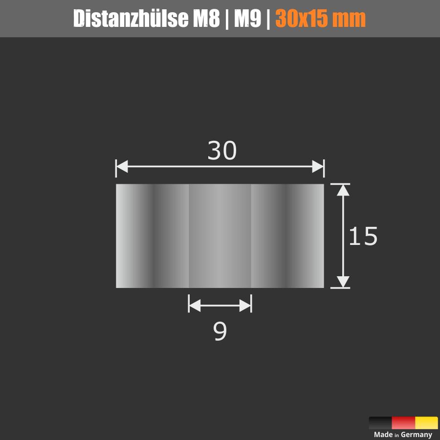 Distanzscheibe M8 | M9 | Distanzrolle Edelstahl Ø30mm WA:15mm L-Ø:9mm