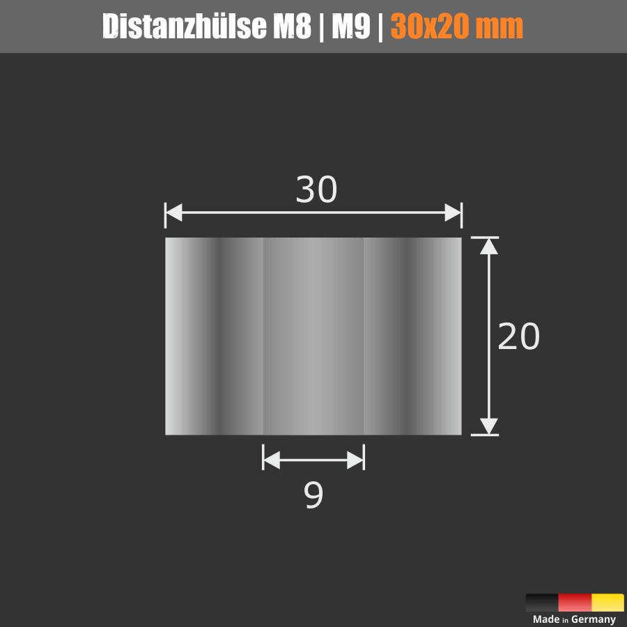 Durch die 9 mm Bohrung können M6 | M8 | M9 Schrauben oder Gewindestangen verwendet werden.