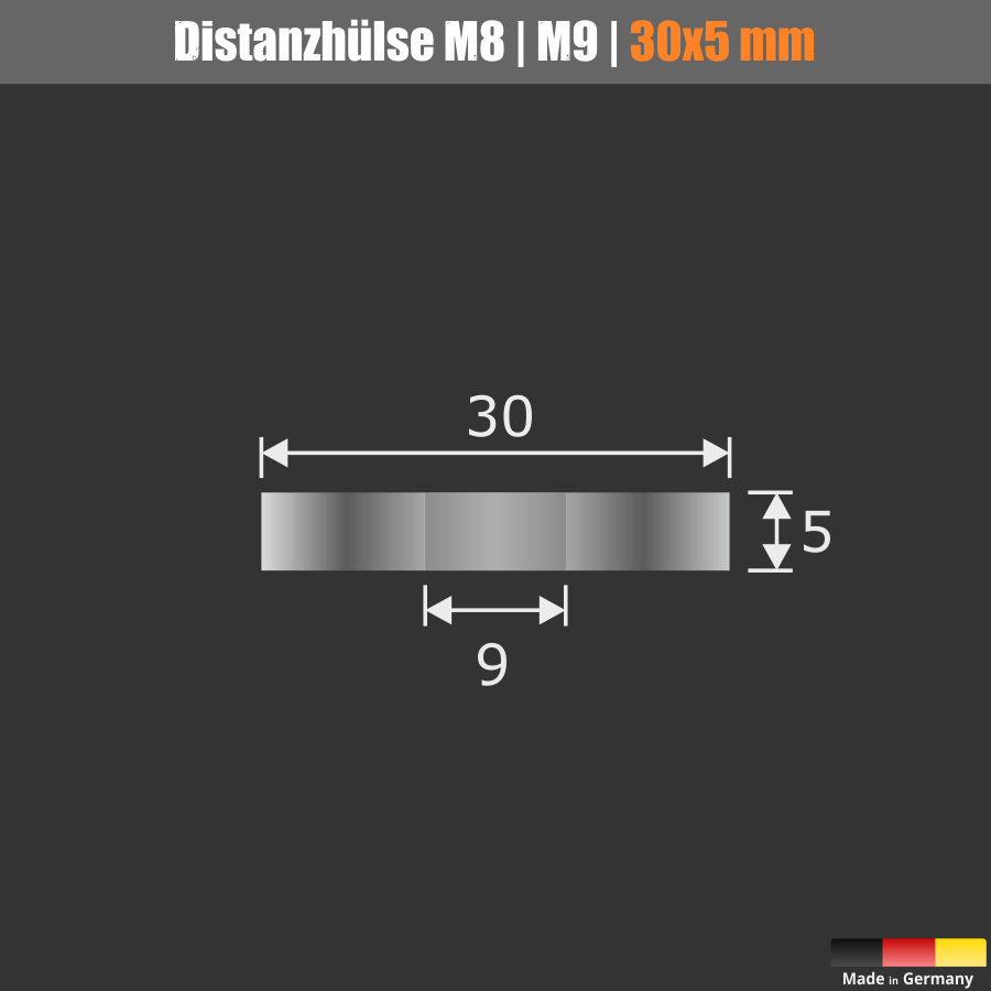 Distanzscheibe | Distanzhalter Edelstahl Ø 30mm WA: 5 mm Loch-Ø: 9mm | V2A
