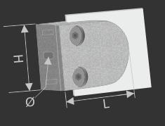 Glashalter + Sicherung V2A 50x40 mm PS: 1,5-10,76 mm rund | Wandmontage