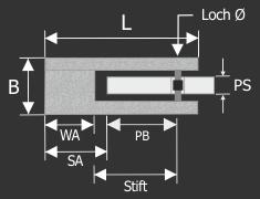Glashalter Edelstahl V2A 50 x 40 mm PS: 6 - 10,76 mm rund | flach