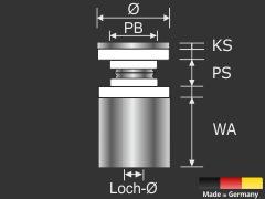 Edelstahlhalter V2A zum schrauben Ø 15 mm Wandabstand 20 mm PS: 4-6 mm oder 2 x 2-3 mm
