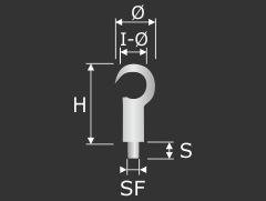 Drahtseilhalter Haken vernickelt mit Aushänge-Sicherung Seil 1,2-1,5mm