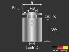 Wandabstandshalter Edelstahl angesch. Ø 15 mm WA: 25 mm PS: 1-11 mm