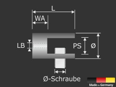 Plattenhalter | Klemmhalter | Glasbodenhalter Edelstahl V2A Ø 20 mm Länge 25 mm PS: 2-9 mm