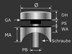 Punktglashalter V2A Ø 50 mm WA 10 mm PS:6-22 mm | Rundrohr Ø 42,4 mm
