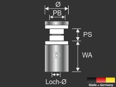 Glashalter Edelstahl V2A mit Madenschraube Ø 15 mm Wandabstand 20 mm PS: 8-12 mm oder 2 x 4-6 mm