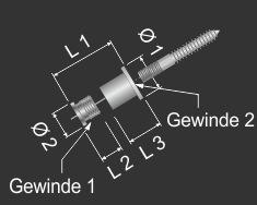Seilaufhängung Messing vernickelt 10x1mm für Kugelseil | Stockschraube